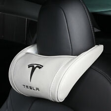 1Pc White+Black Font Tesla Car Seat Headrest Pillow Neck Rest Leather Embroidery