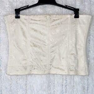 Maidenform Bustier Shapewear PLUS 2X Waist Corset Underbust Girdle Ivory Floral