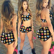 2Pcs 2XL Women Sexy Beach High Waisted Bikini Set Swimwear Swimsuit Yoga Sets