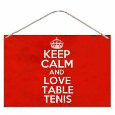Keep Calm And Love Table Tenis - Vintage Look Metal Large Plaque Sign 30x20cm