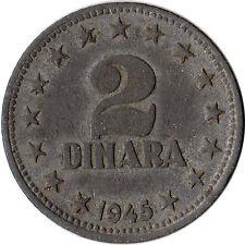 1945 Yugoslavia 2 Dinara Zinc Coin KM#27 One Year Type