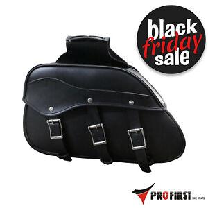 Motorcycle Motorbike Touring Saddle Bag Waterproof PU Leather Luggage Pannier