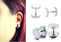 FAKE EAR PLUGS CHEATER EAR STUDS EARRINGS SILVER STEEL MEN WOMEN