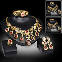 FJ- EG_ Fancy Cubic Zirconia Earrings Necklace Bib Statement Ring Bracelet Jewel