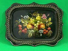 Plateau JOSTOVO 33 x 26  Russie métal noir fleurs fruits peint main laqué signé