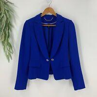 White House Black Market Long Sleeve Soft Drape Twill Blazer Jacket Size 4 Blue