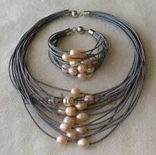 15 Reihen 10-12mm rosa Süßwasser Perle grau Leder Halskette Armband set