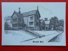 POSTCARD LANCASHIRE STOCKPORT - BRAMALL HALL - PENCIL SKETCH - BRIAN EDDLESTON
