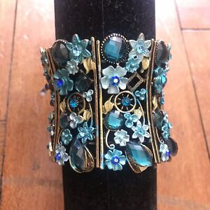 Cute nickel Free ladies Blue crystal statement one size fits all cuff bangle