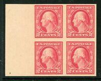 USA 1916 🔥 Washington 2¢ Flat Press Unwmk Imperf Block Scott 482 MNH 🔥 L420