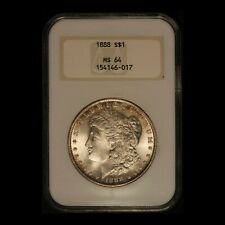 "1888 $1 Morgan Silver Dollar NGC MS64 ""Fatty Holder"" - Free Shipping USA"
