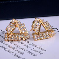 Elegant Triangle Stud Earring Women Silver,Gold,Rose Gold White Sapphire Jewelry