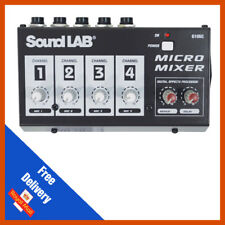 Soundlab 4 Channel Mono DJ Karaoke Microphone Mic Mixer With Echo Delay Effects