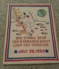 """Vintage 1969 Astronaut Neil Armstrong """"One Small Step..."""" Cross-Stitch Piece"""