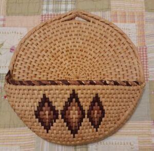 Vintage Boho Wall Art Hanging Woven Basket Tray Southwestern Bohemian