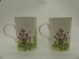 (ref288MG2) 4 Floral Design Mugs Lesley Hallas and Holly Barn