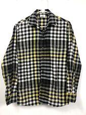 Lacoste Hombre 38 Camisa de Cuadros L/S Negro Amarillo Blanco Marrón