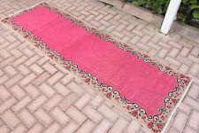 2.8x8.6 ft Turkish Oushak Handmade Carpet Rose Flower Pink Color Runner Rug