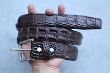 Without Jointed - BROWN Genuine Alligator, Crocodile Leather Skin Men's BELT