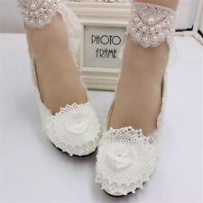 Women Floral Crystal Wedding Shoes Lace Prom Bridal Bridesmaid High Heels 5/8c