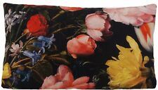 Roses Cushion Cover Tulips Hydrangea Printed Fabric Black Yellow Pink 50x30cm