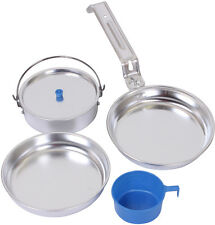 Aluminum 5 Piece Mess Kit Camper Camping Military Outdoor Cook Pots Pan Set