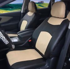 2 Front Black Tan Leatherette Auto Car Seat Cushion Covers Universal Fit #15905