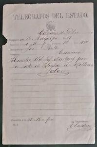 PERU telegram letter Pacific War Camaná Arequipa state telegraph 1880 manuscript
