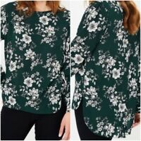 NEW Ex George Green Floral Print drop hem Top with button back Size 8 - 24