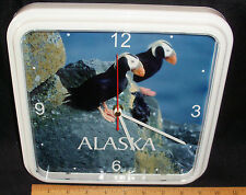 """ALASKA TUFTED PUFFINS PHOTO WALL CLOCK BY CENTURY CLOCK - 9"""" X 9"""" SQUARE/WHITE"""
