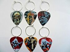 Six   IRON MAIDEN  Genuine Guitar Pick Wine Glass Charms Parties / Christmas