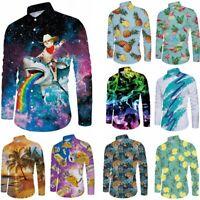 Mens 3D Print Button Down Casual Shirt Slim Fit Tops Long Sleeve Formal Shirts