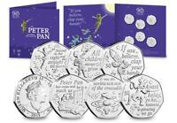 PETER PAN 50P FIFTY PENCE UNCIRCULATED COINS SET ISLE OF MAN - IOM - RARE