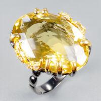 Handmade35ct+ Natural Lemon Quartz 925 Sterling Silver Ring Size 8.5/R124115