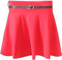 Womens Girls Short Skirt Skater Belted Stretch Waist Plain Flippy Flared Jersey