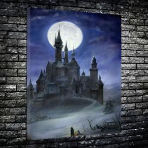 """Draculas Castle"" Movie Printed Box Canvas Picture Multiple Sizes 30mm Deep."