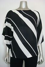 NWOT INC International Cpts Women's White Striped Baggy Sheer Tunic 14