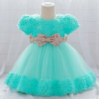 Girl's Flower Princess Dresses Party Evening Gown Bowknot Dress Kid Xmas Gift