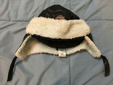Harley-Davidson Kids Size 5 Black Faux Leather Trapper Hat - Bombers