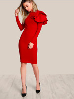 Red One Side Tiered Ruffle Trim Long Sleeves Cocktail Pencil Dress Sz XS S M L