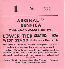 Ticket: Arsenal v Benfica 4/8/1971 Friendly