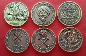 Lot Of 6 Good Luck Tokens , All Different Designs  , ( LAST LOT )