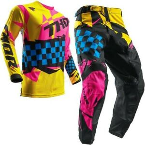 Brand New 28W/Small Thor Pulse Louda Flo Pink/Yell Adult Motocross MX Kit Combo