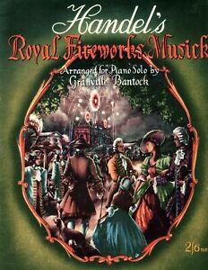Handel's Royal Fireworks Musick - Piano Sheet Music - Vintage 1946