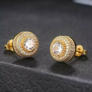18K GOLD FILLED ICED OUT STUD EARRINGS MADE WITH  SWAROVSKI CRYSTALS GIFT   RG04