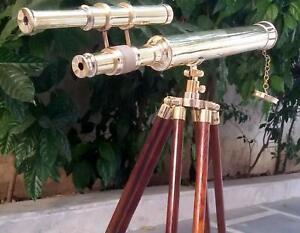 Nautical Brass TELESCOPE Marine Double Barrel Pirate Golden With Tripod Stand