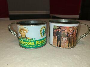 Ponderosa Ranch Tin Cups Mugs Bonanza Lake Tahoe Vintage Rusty