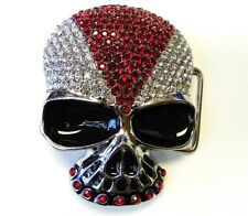 B8  NEW ATTRACTIVE  SKULL HEAD WITH RHINESTONE BELT BUCKLE