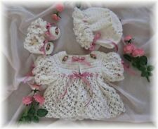 "CROCHET PATTERN for ""JASMINE"" Baby Sweater Set by REBECCA LEIGH---0/3M to 6/12 M"