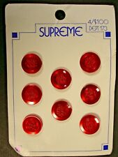 Vintage Supreme buttons 8 red shank textured centers NOS on card plastic